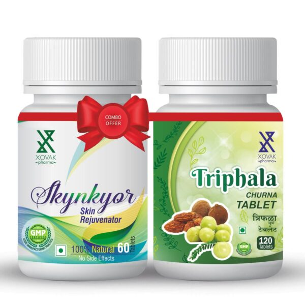 Skynkyor & Triphala Tablets Combo For Skin Care With Triphala Churna 1